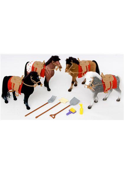 Conjunto 4 caballos c/ accesorios derby stable