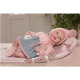 Reborn leire, con vestido de lana rosa y lino azul