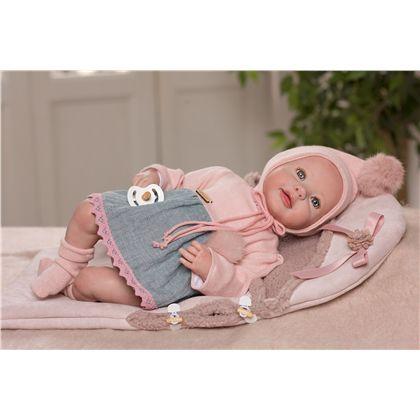 Reborn leire, con vestido de lana rosa y lino azul - 58887708