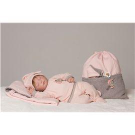 Reborn natali conjunto punto rosa y gris con gorri