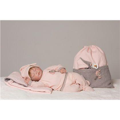 Reborn natali conjunto punto rosa y gris con gorri - 58887726