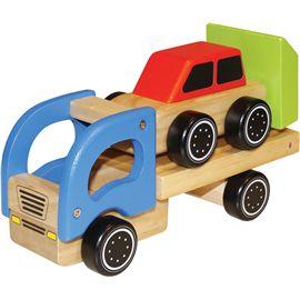 Camion transportador con coche madera