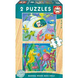 Puzzle 2x9 animales acuaticos