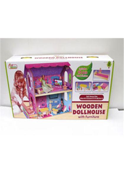 Casa de muñecas de madera con muebles - 95600381