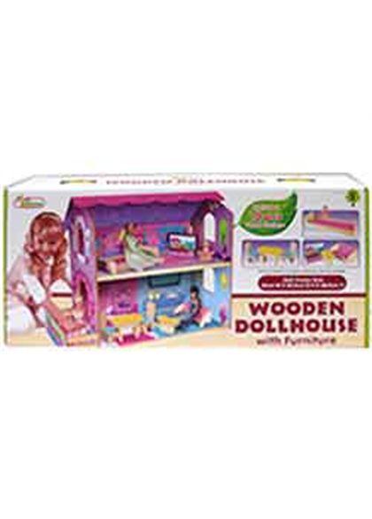 Casa de muñecas de madera con muebles - 95600381(1)