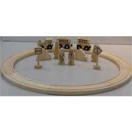 Tren con vias y accesorios de madera 20 piezas - 86146255
