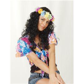 Peluca negra rizada con flores