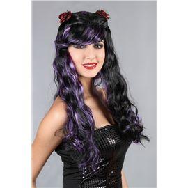 Peluca dos colores -negro y purpura - 92769113