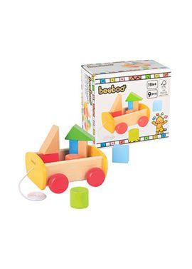 Arrastre carrito madera con ruedas y bloques - 93427999