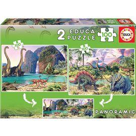 Puzzle 2 x 100 dino world - 04015620