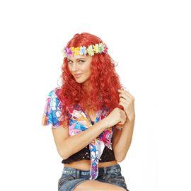 Peluca hippie con flores