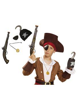 Pistola pirata con parche y garfio - 55201503