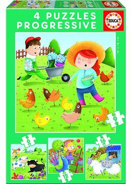 Puzzle 6-9-12-16 animales de la granja - 04017145