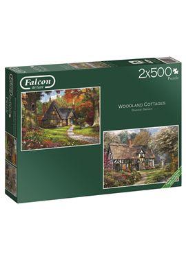 Puzzle 2x500 woodlandcoltages -falcon - jumbo - 09511167