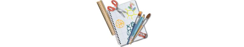 Escolar, pizarras, mochilas